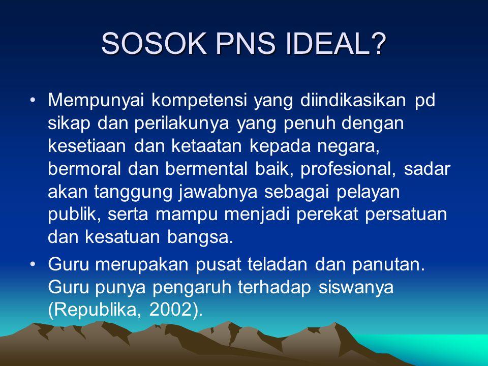 SOSOK PNS IDEAL? Mempunyai kompetensi yang diindikasikan pd sikap dan perilakunya yang penuh dengan kesetiaan dan ketaatan kepada negara, bermoral dan