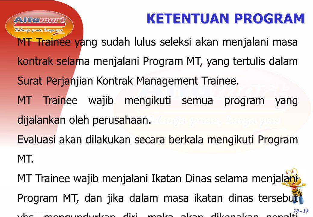 10 - 18 KETENTUAN PROGRAM MT Trainee yang sudah lulus seleksi akan menjalani masa kontrak selama menjalani Program MT, yang tertulis dalam Surat Perja
