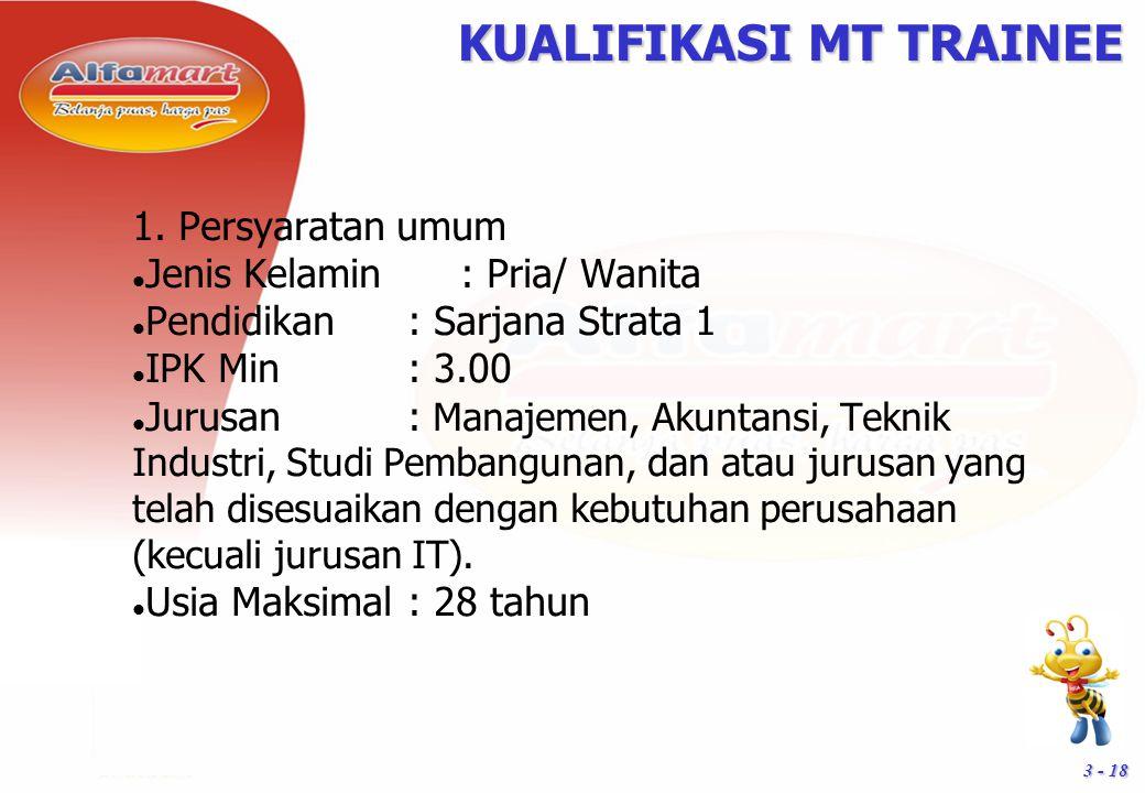 3 - 18 KUALIFIKASI MT TRAINEE 1. Persyaratan umum Jenis Kelamin : Pria/ Wanita Pendidikan: Sarjana Strata 1 IPK Min: 3.00 Jurusan: Manajemen, Akuntans