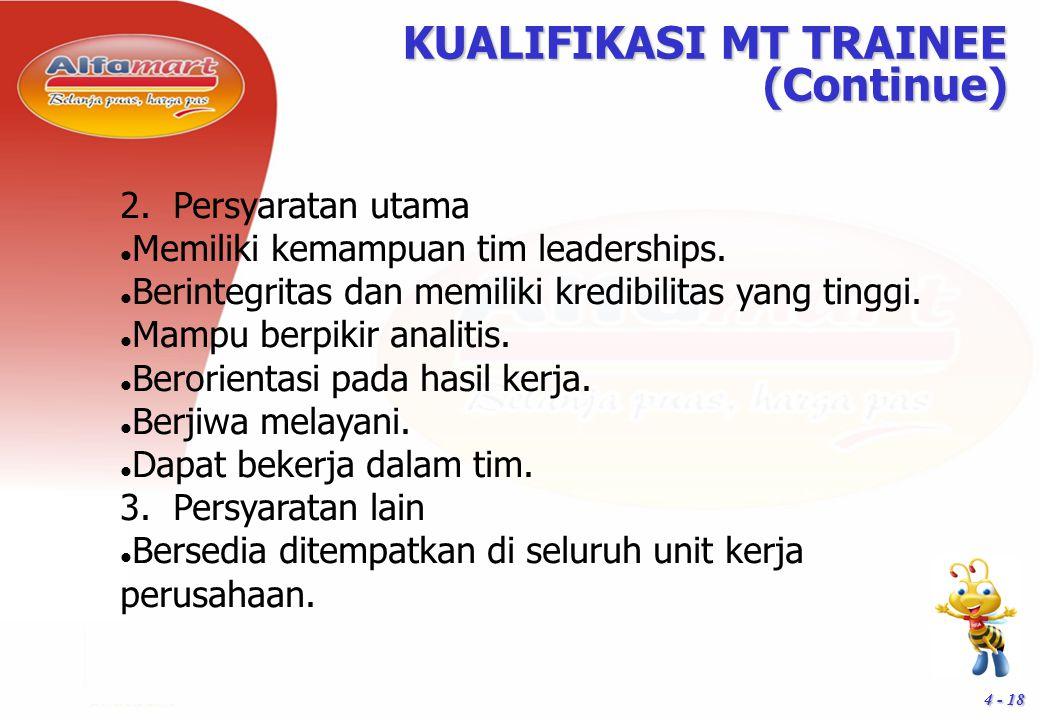 4 - 18 KUALIFIKASI MT TRAINEE (Continue) 2. Persyaratan utama Memiliki kemampuan tim leaderships. Berintegritas dan memiliki kredibilitas yang tinggi