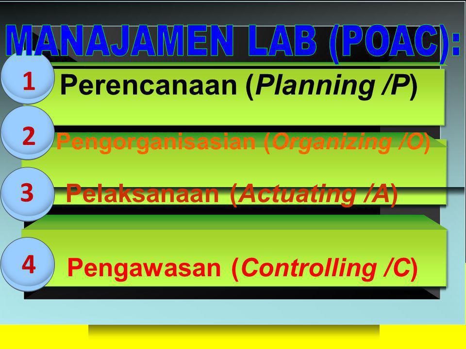 3D BLOCKS Perencanaan (Planning /P) Pengorganisasian (Organizing /O) Pelaksanaan (Actuating /A) 1 2 3 4 Pengawasan (Controlling /C)