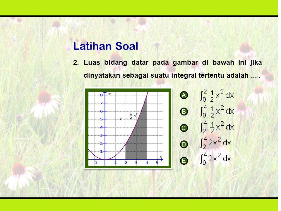 Latihan Soal 2.Luas bidang datar pada gambar di bawah ini jika dinyatakan sebagai suatu integral tertentu adalah.... A B C D E