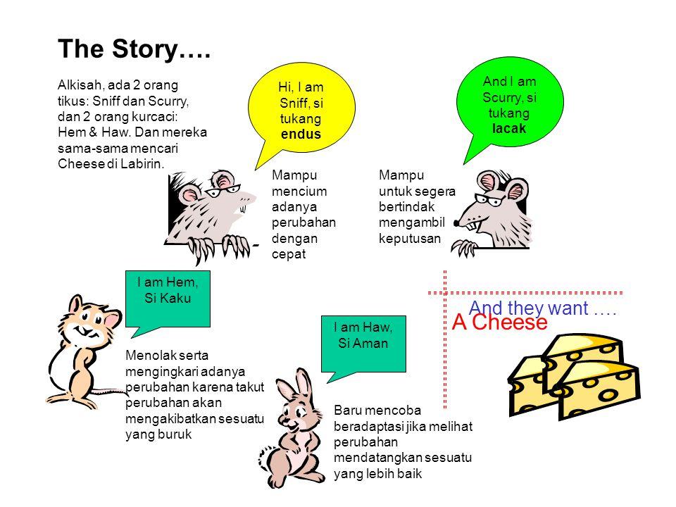 The Story…. And they want …. Hi, I am Sniff, si tukang endus Mampu mencium adanya perubahan dengan cepat And I am Scurry, si tukang lacak Mampu untuk