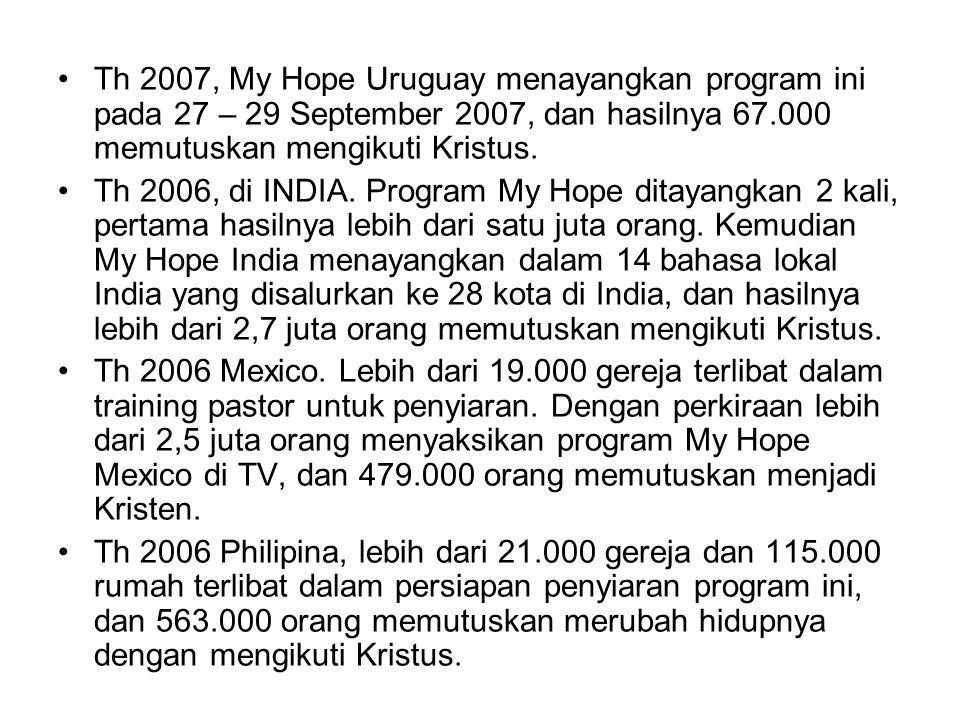 Th 2007, My Hope Uruguay menayangkan program ini pada 27 – 29 September 2007, dan hasilnya 67.000 memutuskan mengikuti Kristus. Th 2006, di INDIA. Pro