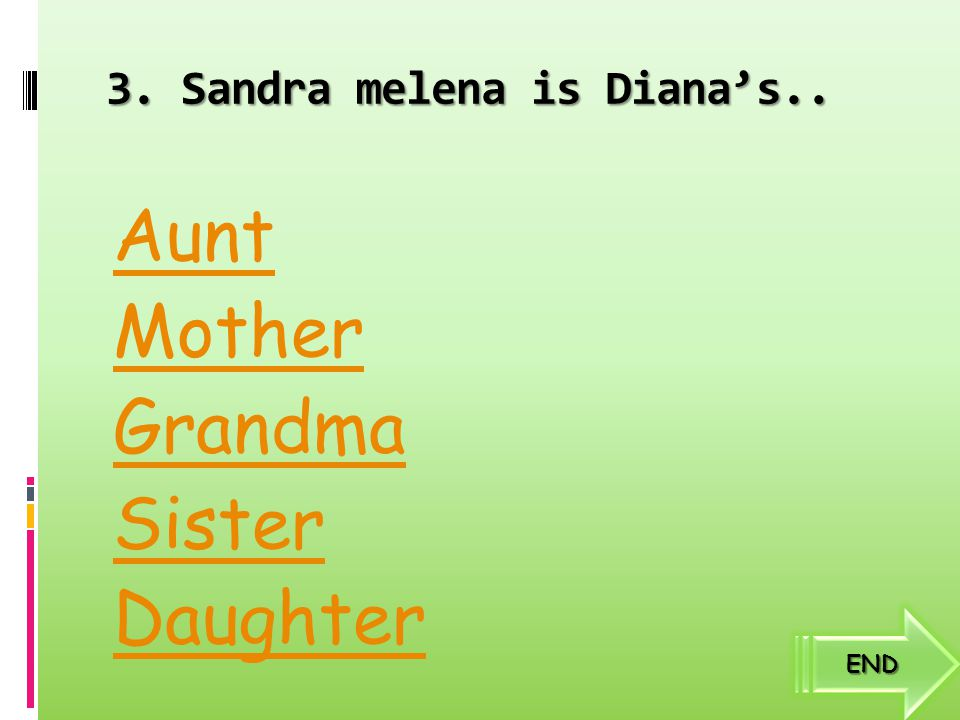 2. Who is Diana's mother? Diana morleno Lily Morleno Zabrina morleno Dian morleno Zaque morleno END