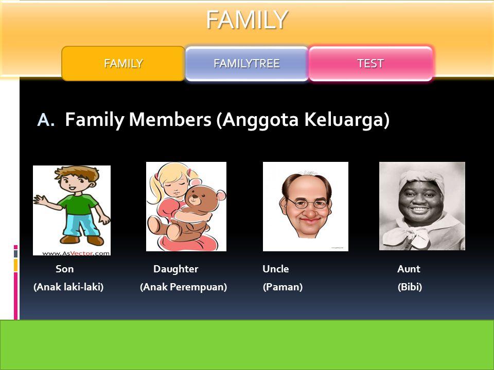 FAMILY A. Family Members (Anggota Keluarga) Father Mother Grandpa Grandma ( Ayah) (Ibu) (Kakek) (Nenek) FAMILY FAMILYTREE TEST