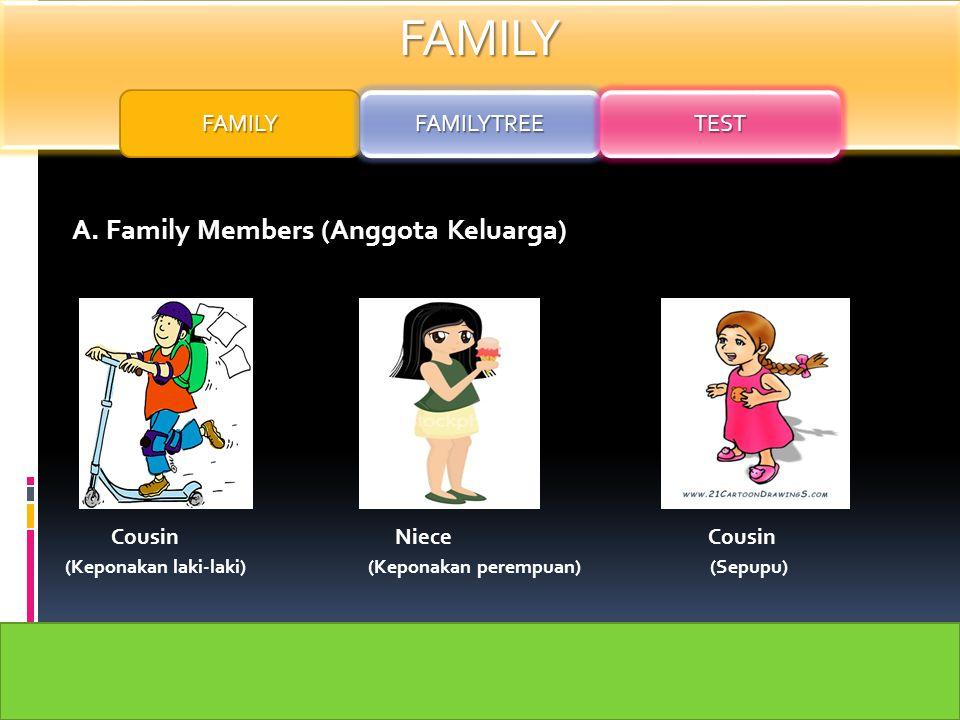 FAMILY A. Family Members (Anggota Keluarga) Son Daughter Uncle Aunt (Anak laki-laki) (Anak Perempuan) (Paman) (Bibi) FAMILY FAMILYTREE TEST