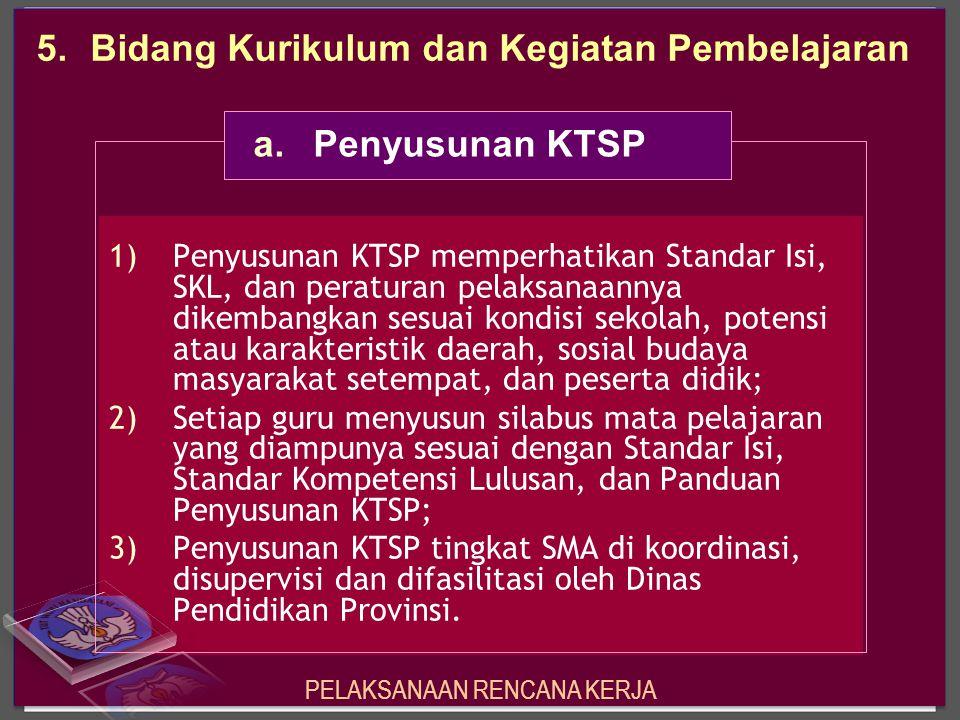 1)Penyusunan KTSP memperhatikan Standar Isi, SKL, dan peraturan pelaksanaannya dikembangkan sesuai kondisi sekolah, potensi atau karakteristik daerah,
