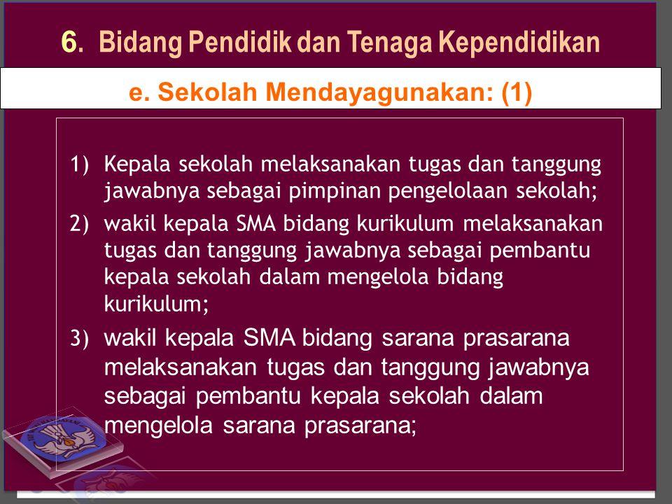 e. Sekolah Mendayagunakan: (1) 1)Kepala sekolah melaksanakan tugas dan tanggung jawabnya sebagai pimpinan pengelolaan sekolah; 2)wakil kepala SMA bida