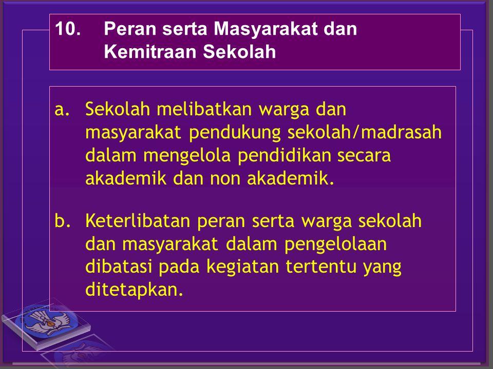 10.Peran serta Masyarakat dan Kemitraan Sekolah a.Sekolah melibatkan warga dan masyarakat pendukung sekolah/madrasah dalam mengelola pendidikan secara akademik dan non akademik.