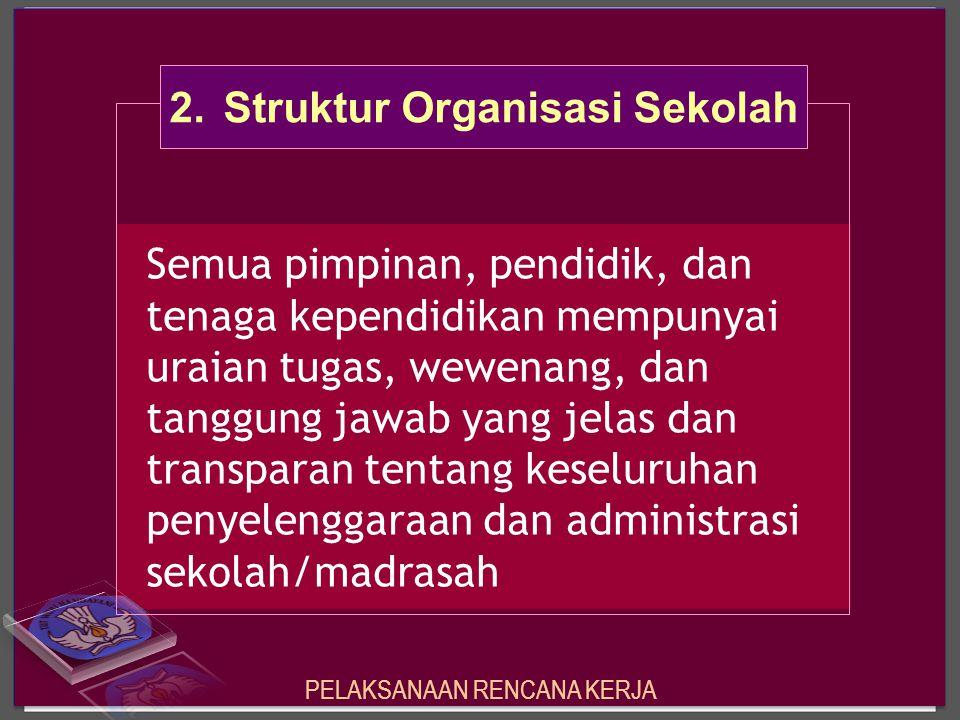 Semua pimpinan, pendidik, dan tenaga kependidikan mempunyai uraian tugas, wewenang, dan tanggung jawab yang jelas dan transparan tentang keseluruhan p
