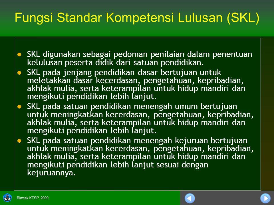 Bimtek KTSP 2009 Fungsi Standar Kompetensi Lulusan (SKL) SKL digunakan sebagai pedoman penilaian dalam penentuan kelulusan peserta didik dari satuan pendidikan.