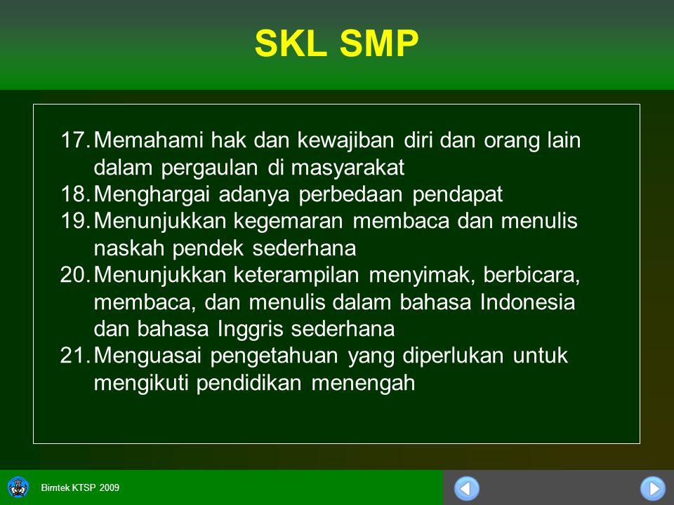 Bimtek KTSP 2009 17.Memahami hak dan kewajiban diri dan orang lain dalam pergaulan di masyarakat 18.Menghargai adanya perbedaan pendapat 19.Menunjukkan kegemaran membaca dan menulis naskah pendek sederhana 20.Menunjukkan keterampilan menyimak, berbicara, membaca, dan menulis dalam bahasa Indonesia dan bahasa Inggris sederhana 21.Menguasai pengetahuan yang diperlukan untuk mengikuti pendidikan menengah SKL SMP