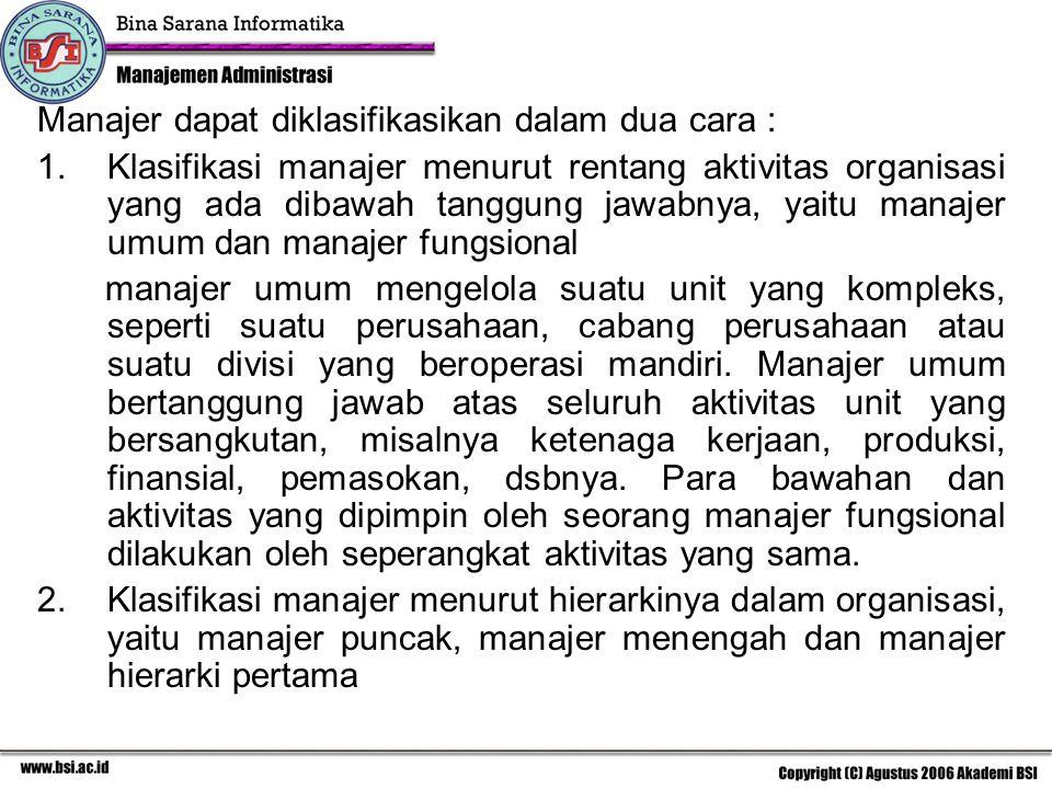 Manajer dapat diklasifikasikan dalam dua cara : 1.Klasifikasi manajer menurut rentang aktivitas organisasi yang ada dibawah tanggung jawabnya, yaitu m