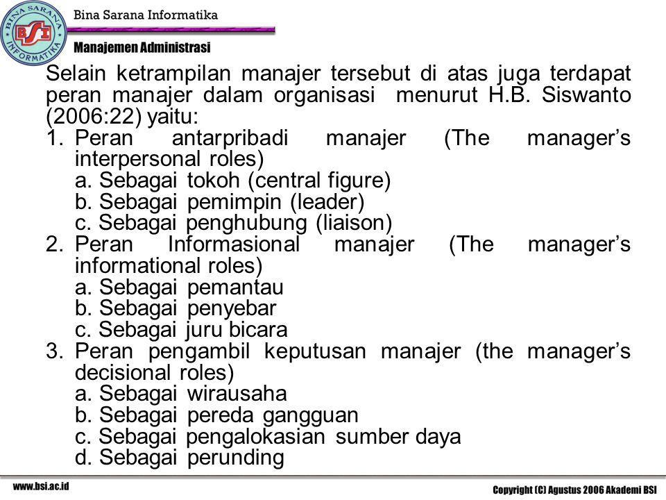 Selain ketrampilan manajer tersebut di atas juga terdapat peran manajer dalam organisasi menurut H.B. Siswanto (2006:22) yaitu: 1.Peran antarpribadi m