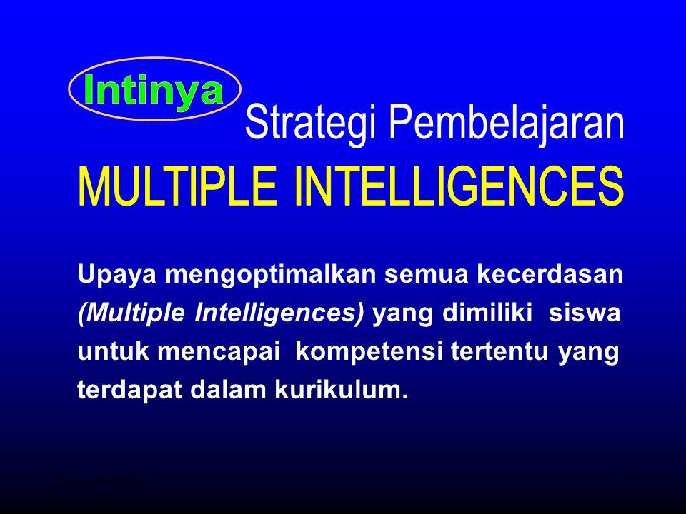 SALAM-UNM7 Upaya mengoptimalkan semua kecerdasan (Multiple Intelligences) yang dimiliki siswa untuk mencapai kompetensi tertentu yang terdapat dalam k