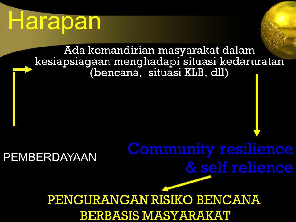 Harapan Ada kemandirian masyarakat dalam kesiapsiagaan menghadapi situasi kedaruratan (bencana, situasi KLB, dll) Community resilience & self relience
