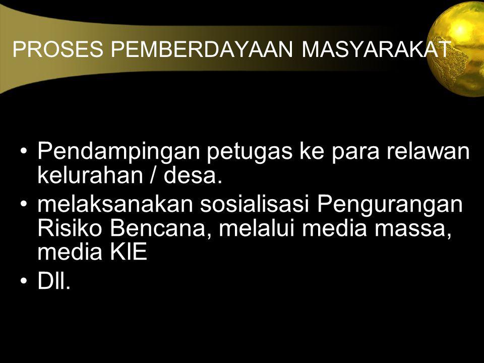 PROSES PEMBERDAYAAN MASYARAKAT Pendampingan petugas ke para relawan kelurahan / desa. melaksanakan sosialisasi Pengurangan Risiko Bencana, melalui med