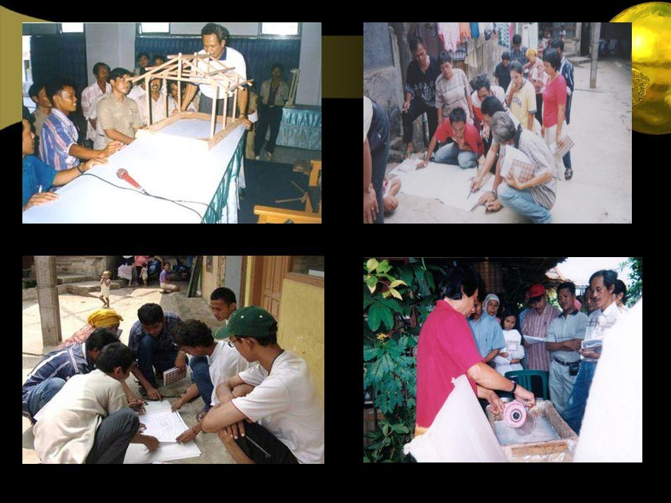 Pelatihan Rumah Tahan Gempa Pelatihan mapping… Pelatihan daur ulang sampahPelatihan Kajian Kerentanan