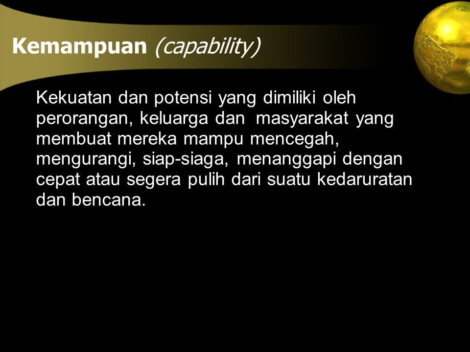 Kemampuan (capability) Kekuatan dan potensi yang dimiliki oleh perorangan, keluarga dan masyarakat yang membuat mereka mampu mencegah, mengurangi, sia