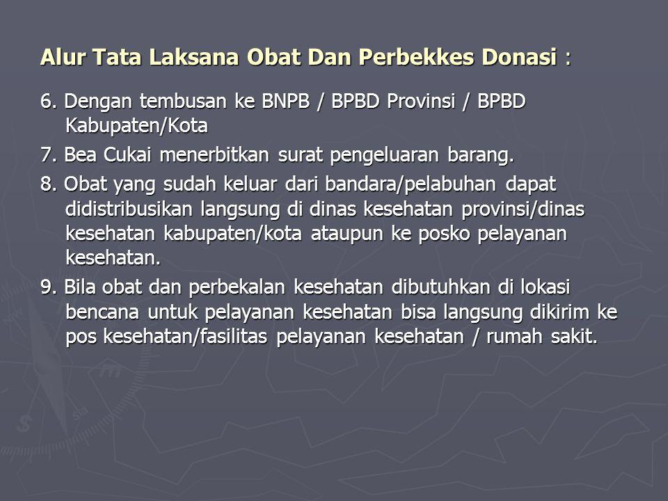 Alur Tata Laksana Obat Dan Perbekkes Donasi : 6. Dengan tembusan ke BNPB / BPBD Provinsi / BPBD Kabupaten/Kota 7. Bea Cukai menerbitkan surat pengelua