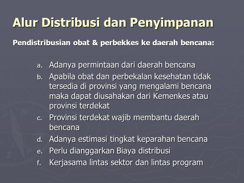 Alur Distribusi dan Penyimpanan Pendistribusian obat & perbekkes ke daerah bencana: a. Adanya permintaan dari daerah bencana b. Apabila obat dan perbe