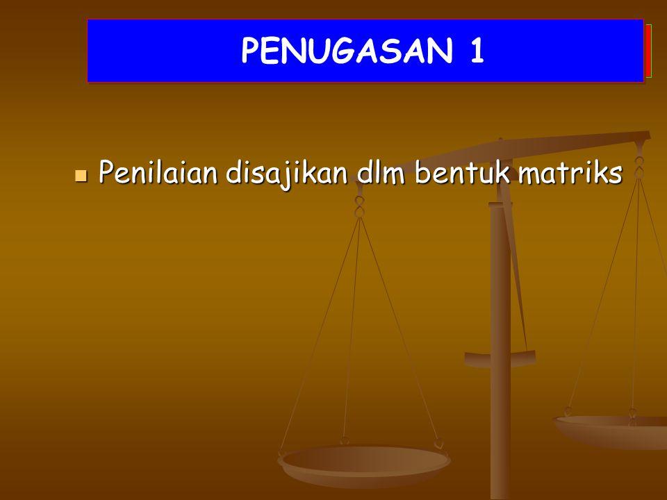 DISKUSI KELOMPOK Penilaian disajikan dlm bentuk matriks Penilaian disajikan dlm bentuk matriks PENUGASAN 1
