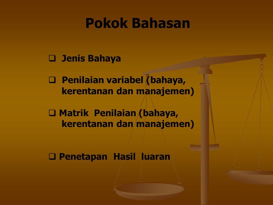 Pokok Bahasan  Jenis Bahaya  Penilaian variabel (bahaya, kerentanan dan manajemen)  Matrik Penilaian (bahaya, kerentanan dan manajemen)  Penetapan