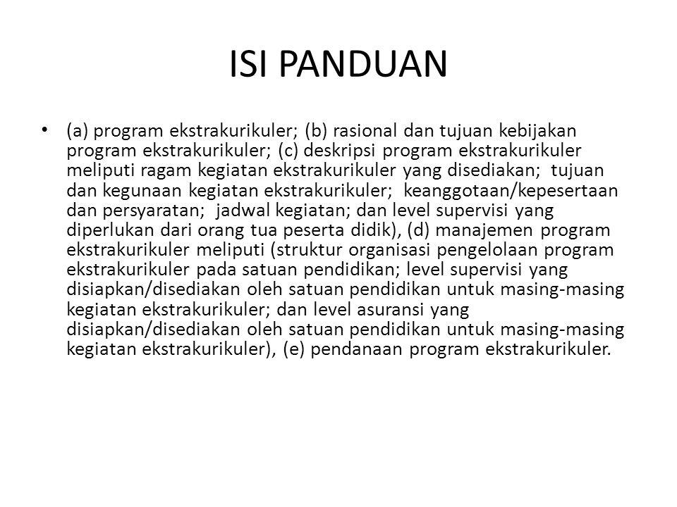 ISI PANDUAN (a) program ekstrakurikuler; (b) rasional dan tujuan kebijakan program ekstrakurikuler; (c) deskripsi program ekstrakurikuler meliputi rag