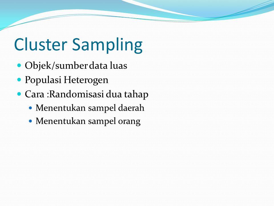 Cluster Sampling Objek/sumber data luas Populasi Heterogen Cara :Randomisasi dua tahap Menentukan sampel daerah Menentukan sampel orang