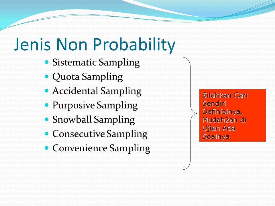 Systematic Sampling Merupakan cara pengambilan sampel dimana sampel pertama ditentukan secara acak sedangkan sampel berikutnya diambil berdasarkan satu interval tertentu Berdasarkan urutan anggota populasi yg telah diberi nomor urut Sifat populasi heterogen