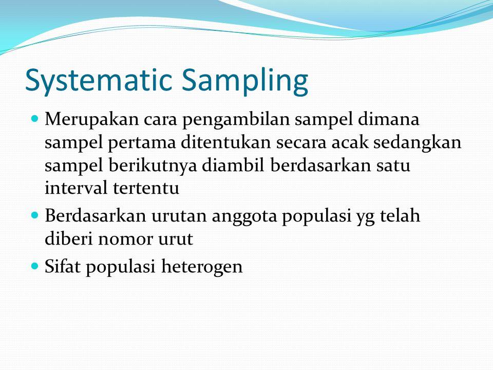 Quota Sampling Peneliti menentukan unit-unit populasi lalu menentukan jatah atau jumlah sampel masing-masing unit;atau menentukan jumlah sampel populasi;kemudian sampel itu ditentukan dengan cara yang paling mungkin atau paling mudah dilakukan Dengan menentukan ciri-ciri tertentu smp jumlah kuota tercapai