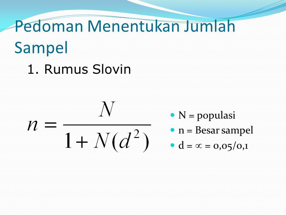 Pedoman Menentukan Jumlah Sampel N = populasi n = Besar sampel d =  = 0,05/0,1 1. Rumus Slovin
