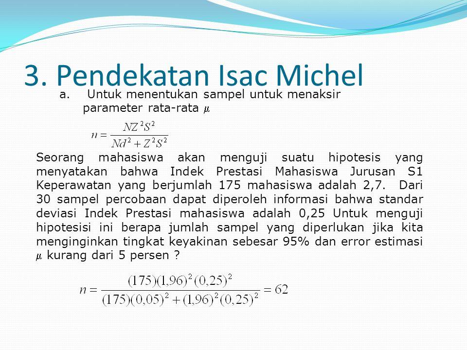 3. Pendekatan Isac Michel Seorang mahasiswa akan menguji suatu hipotesis yang menyatakan bahwa Indek Prestasi Mahasiswa Jurusan S1 Keperawatan yang be