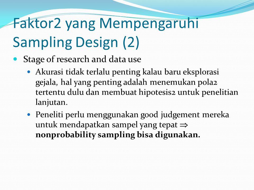 Faktor2 yang Mempengaruhi Sampling Design (2) Stage of research and data use Akurasi tidak terlalu penting kalau baru eksplorasi gejala, hal yang pent