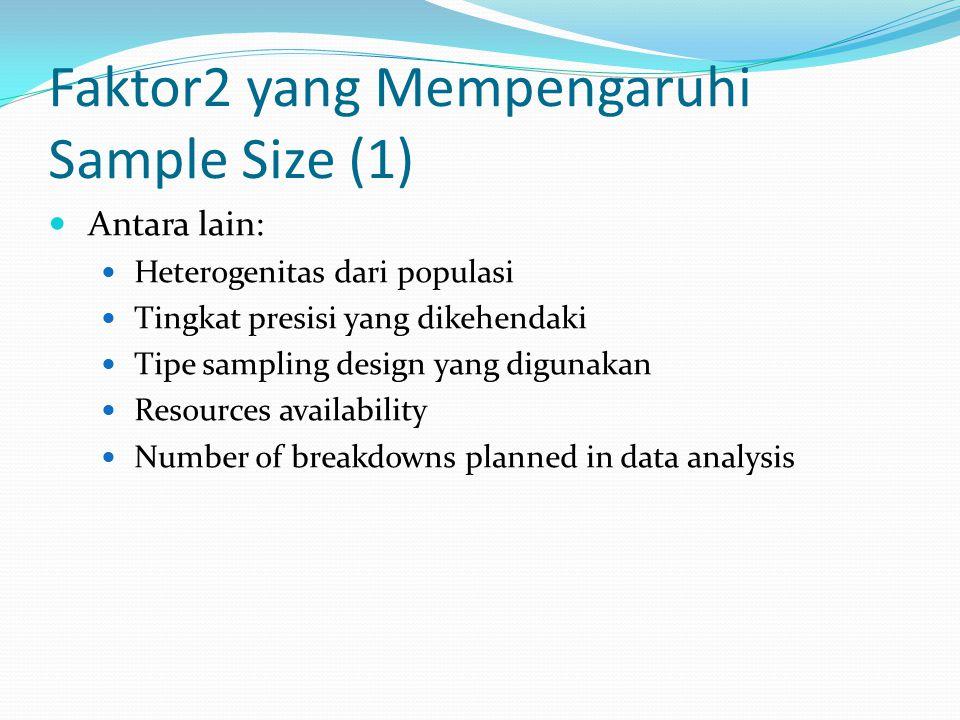 Faktor2 yang Mempengaruhi Sample Size (1) Antara lain: Heterogenitas dari populasi Tingkat presisi yang dikehendaki Tipe sampling design yang digunaka