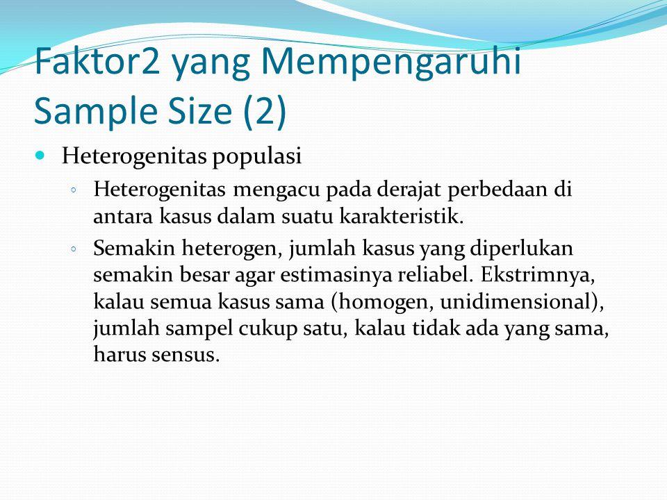 Faktor2 yang Mempengaruhi Sample Size (2) Heterogenitas populasi ◦ Heterogenitas mengacu pada derajat perbedaan di antara kasus dalam suatu karakteris