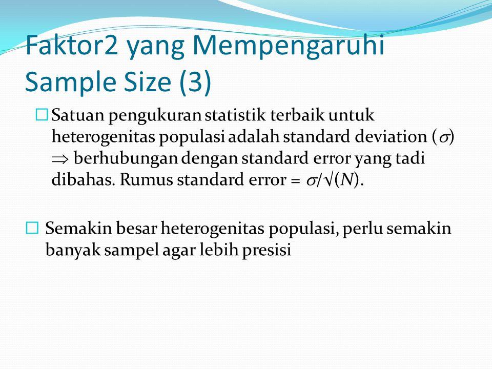 Faktor2 yang Mempengaruhi Sample Size (3)  Satuan pengukuran statistik terbaik untuk heterogenitas populasi adalah standard deviation (  )  berhub