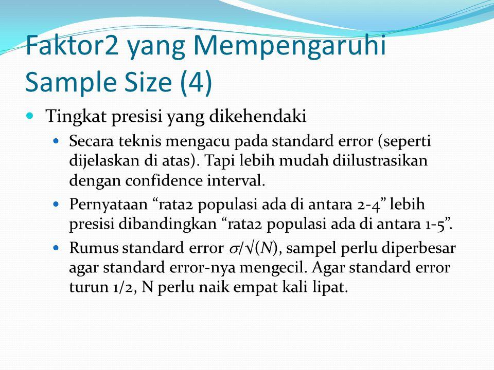 Faktor2 yang Mempengaruhi Sample Size (4) Tingkat presisi yang dikehendaki Secara teknis mengacu pada standard error (seperti dijelaskan di atas). Tap