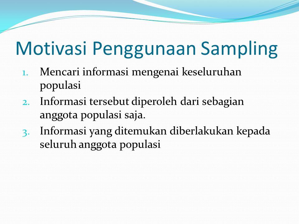 Motivasi Penggunaan Sampling 1. Mencari informasi mengenai keseluruhan populasi 2. Informasi tersebut diperoleh dari sebagian anggota populasi saja. 3