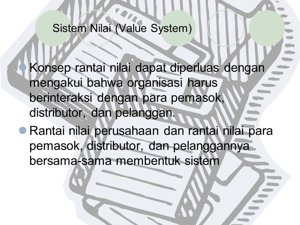 Sistem Nilai (Value System) Konsep rantai nilai dapat diperluas dengan mengakui bahwa organisasi harus berinteraksi dengan para pemasok, distributor,