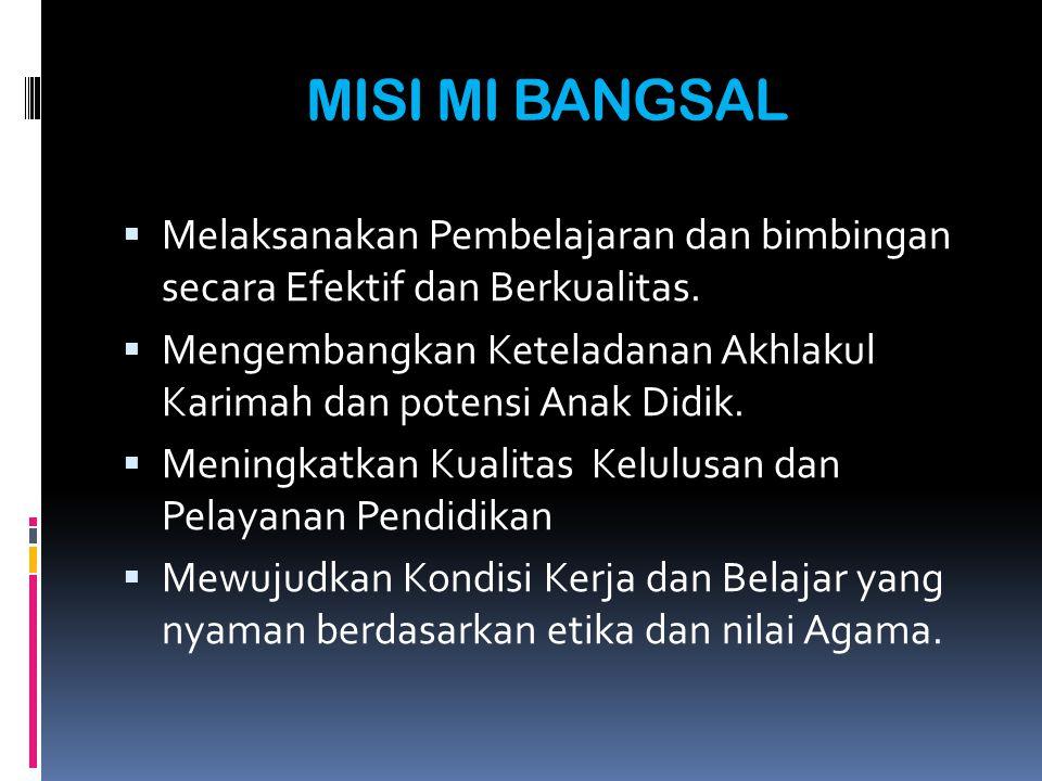 TUJUAN PENGEMBANGAN MI BANGSAL Untuk memberikan bekal kemampuan dasar pada siswa dalam mengembangkan kehidupaanya sebagai pribadi, anggota masyarakat dan Warga Negara Indonesia Untuk mendidik siswa menjadi manusia yang bertaqwa, berakhlak mulia sebagai muslim yang menghayati dan mengamalkan agamanya.