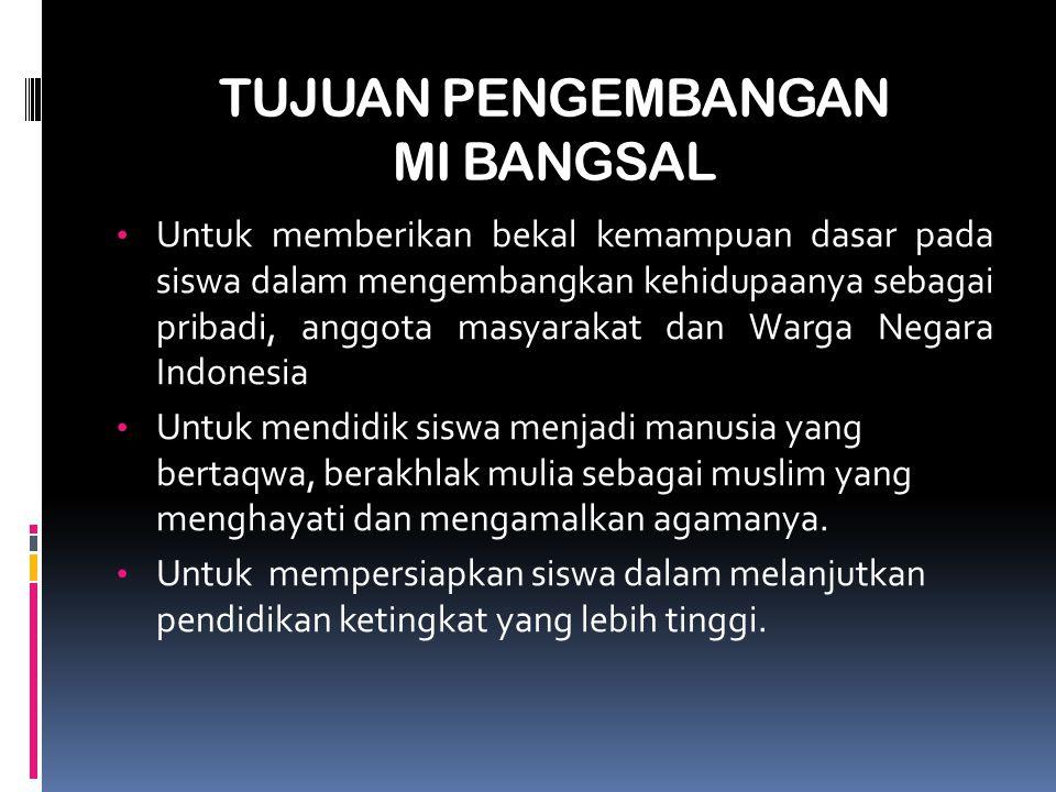 PROFIL MI BANGSAL IDENTITAS MADRASAH 1.Nama Madrasah: MIS Bangsal 2.