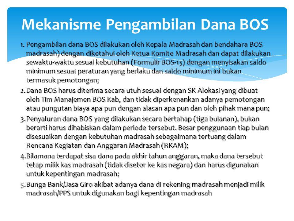 1.Pengambilan dana BOS dilakukan oleh Kepala Madrasah dan bendahara BOS madrasah) dengan diketahui oleh Ketua Komite Madrasah dan dapat dilakukan sewa