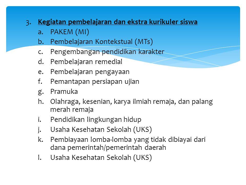 3. Kegiatan pembelajaran dan ekstra kurikuler siswa a.PAKEM (MI) b.Pembelajaran Kontekstual (MTs) c.Pengembangan pendidikan karakter d.Pembelajaran re