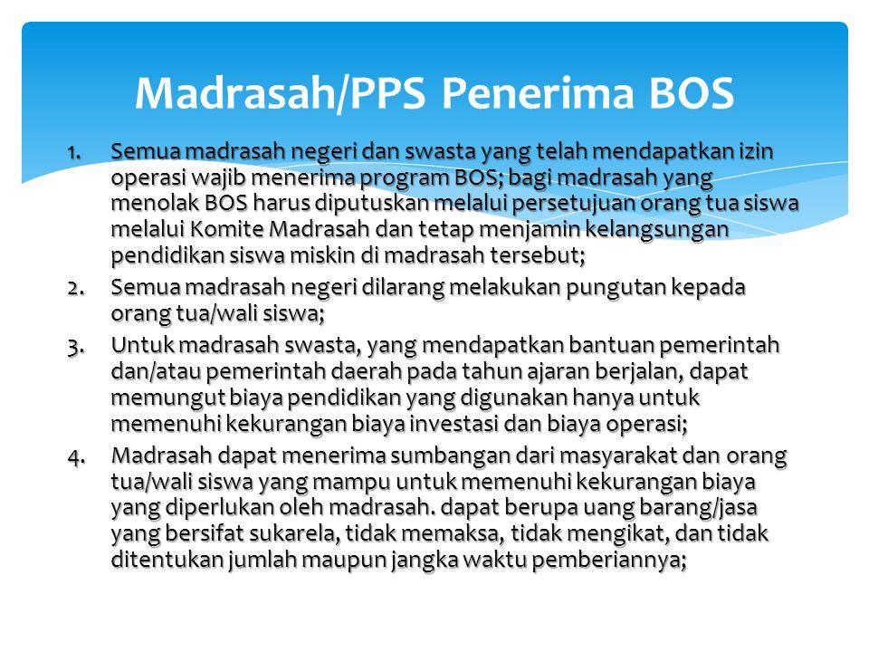 1.Semua madrasah negeri dan swasta yang telah mendapatkan izin operasi wajib menerima program BOS; bagi madrasah yang menolak BOS harus diputuskan mel