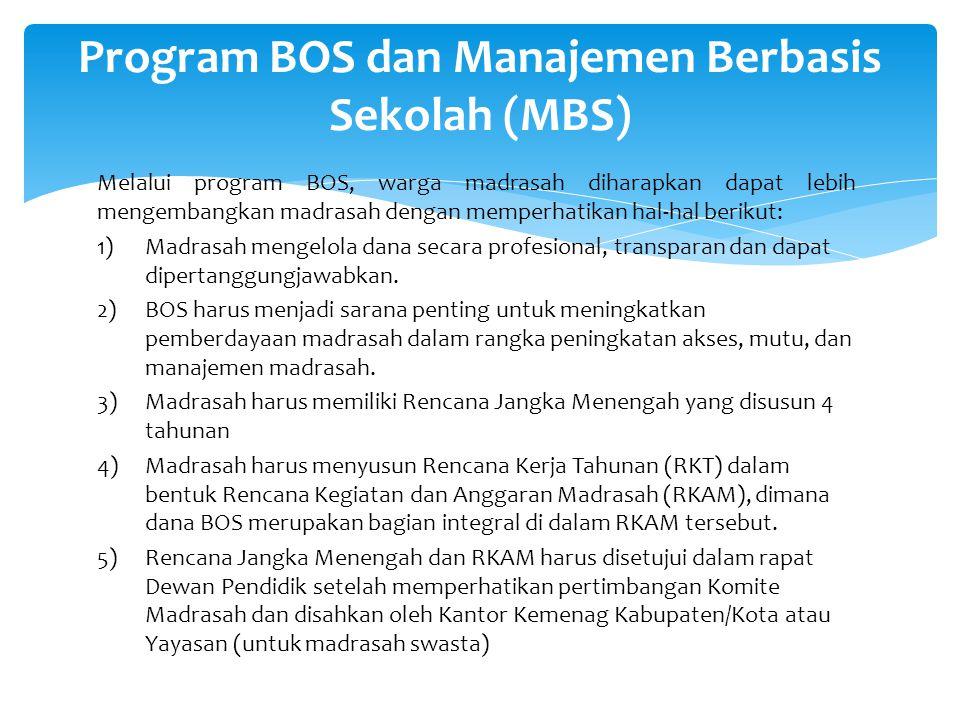 Melalui program BOS, warga madrasah diharapkan dapat lebih mengembangkan madrasah dengan memperhatikan hal-hal berikut: 1)Madrasah mengelola dana seca
