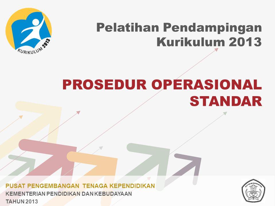 PUSAT PENGEMBANGAN TENAGA KEPENDIDIKAN KEMENTERIAN PENDIDIKAN DAN KEBUDAYAAN TAHUN 2013 PROSEDUR OPERASIONAL STANDAR Pelatihan Pendampingan Kurikulum 2013