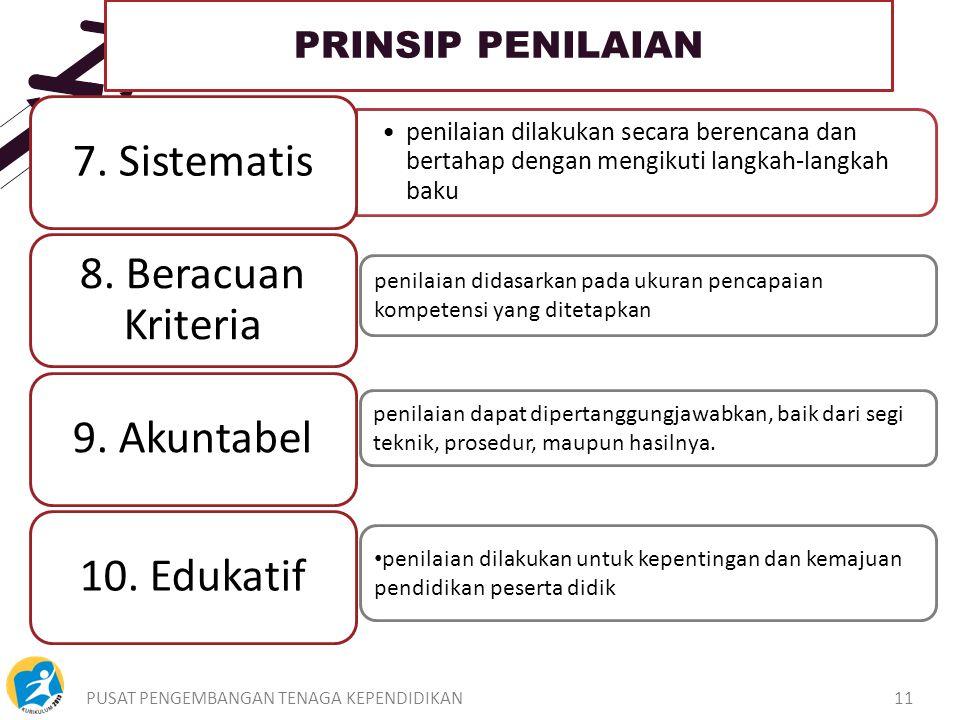 PUSAT PENGEMBANGAN TENAGA KEPENDIDIKAN11 PRINSIP PENILAIAN penilaian dilakukan secara berencana dan bertahap dengan mengikuti langkah-langkah baku 7.
