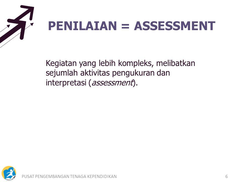 PUSAT PENGEMBANGAN TENAGA KEPENDIDIKAN6 PENILAIAN = ASSESSMENT Kegiatan yang lebih kompleks, melibatkan sejumlah aktivitas pengukuran dan interpretasi (assessment).